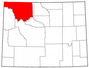 A map of Wyoming highlighting Park County