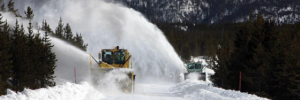 Snowplows clearing the roads in Yellowstone National Park