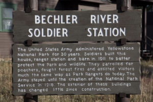 A sign at Bechler River Soldier Station in Yellowstone