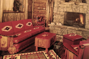 Western-style furniture in a living room in Cody, Wyoming