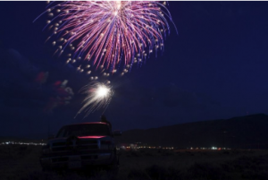 Fireworks light up the sky over Cody, Wyoming