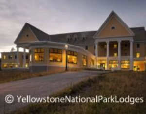 An exterior shot of the Lake Yellowstone Hotel