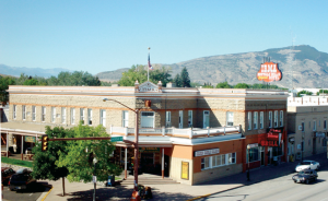 Exterior view of the Irma Hotel in downtown Cody, Wyoming.