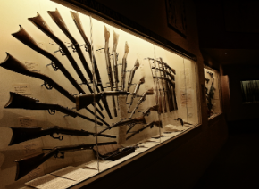 A display of weapons at the Cody Firearms Museum