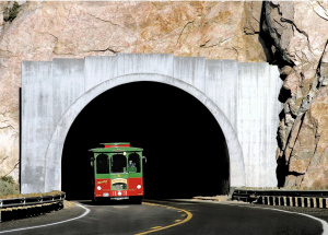 A trolley emerges from a tunnel in Cody, Wyoming