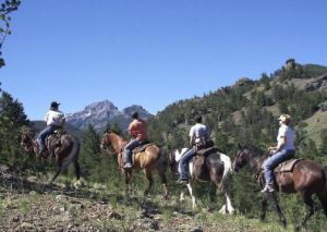 Four friends take a ride on horseback.