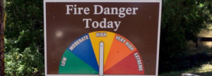 A chart indicating the daily fire danger