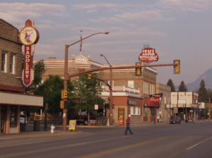 The Irma Hotel at golden hour in Cody, Wyoming.
